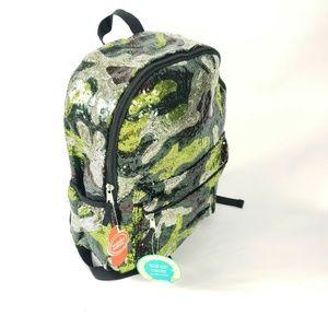 Camo Sequin Sparkle Festival Rave 16″ Backpack